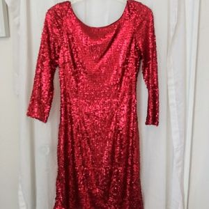 Marc New York sz 8 bright red sequin holiday dress